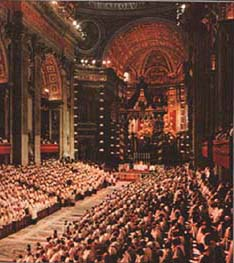 Second Vatican Council in session, in St. Peter's Basilica, Rome